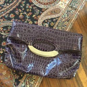 New York & Co Purple Croc Embossed Patent Clutch